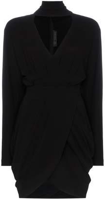 Versace Turtle neck silk-blend wrap dress