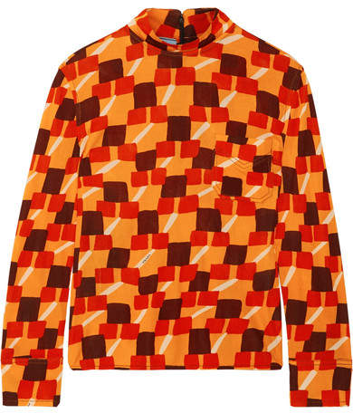 Prada - Printed Crepe Top - Orange