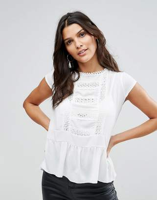 Zibi London Pep Hem Top With Lace Trim