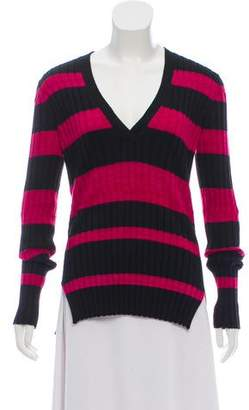 Proenza Schouler Wool Silk and Cashmere Blend V-Neck Striped Sweater w/ Tags