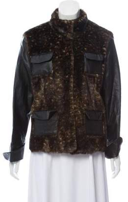 Adrienne Landau Faux- Fur and Faux-Leather Jacket