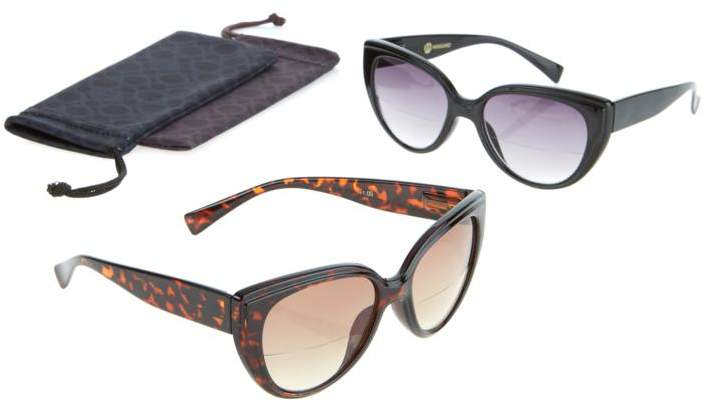 Joy Mangano JOY 4-piece SHADES Readers Cat Eye Design Bifocal Sunglasses
