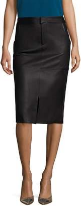 Alice + Olivia Women's Valeri Leather Front Split Pencil Skirt