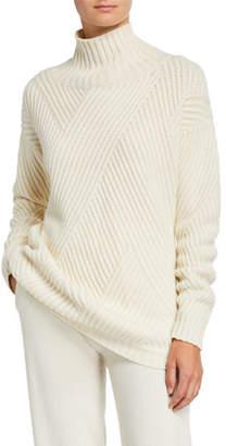 Agnona Cashmere-Ribbed Diagonal-Patchwork Sweater