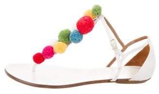 Aquazzura Pom-Pom Ankle Strap Sandals