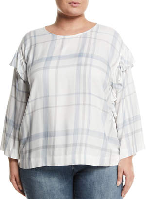 Vince Camuto Plus Ruffle-Trimmed Bell-Sleeve Plaid Blouse, Plus Size