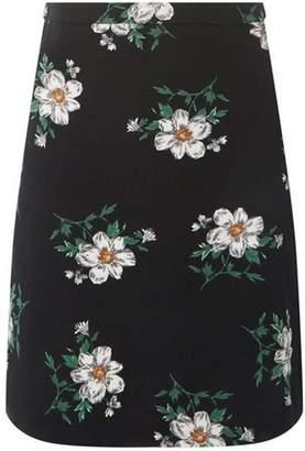 Dorothy Perkins Womens **Tall Black Floral Pique Mini Skirt