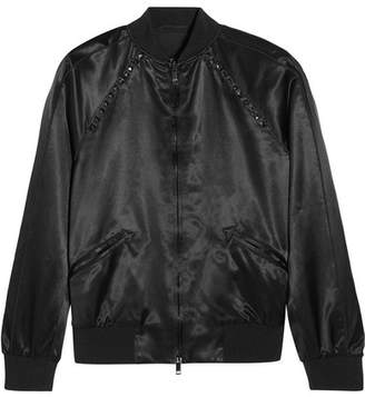 Valentino The Rockstud Embellished Satin Bomber Jacket - Black