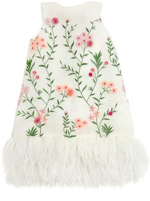 Floral Embroidered Organza & Tulle Dress