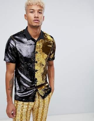Asos DESIGN regular fit shirt in gold reversible sequin