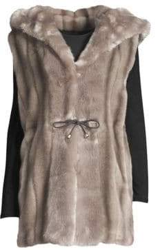 Fuzz Skate Moss Hooded Faux Fur Vest