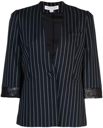 b483f86bf02 Rachel Zoe pinstripe cropped sleeve blazer