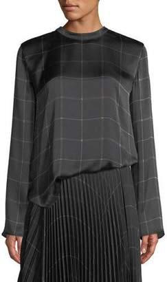 Vince Draped Plaid Tie-Back Silk Blouse