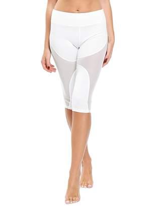CFR Women's Classic Yoga Pants Solid Workout Sport Capris Pilate Tights Fitness Leggings Mesh White,L