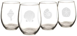 Cathy's Concepts CATHYS CONCEPTS Set of 4 Seashell Stemless Wine Glasses