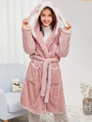 Shein Rabbit Pattern Self Belted Plush Robe