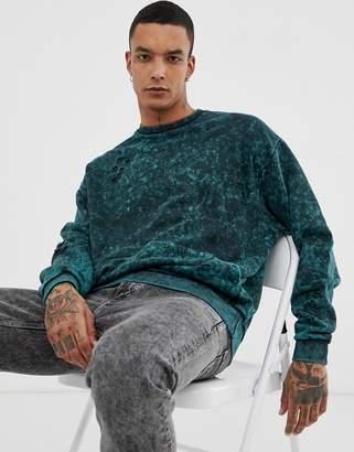 Asos Design DESIGN oversized sweatshirt with nibbling in green acid wash
