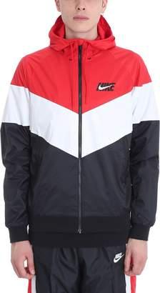 Nike Black/white/red Nylon Windbreaker Jacket