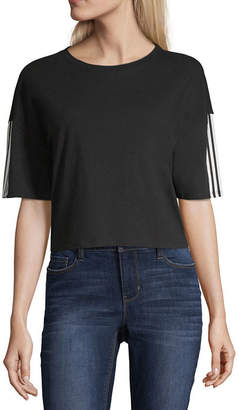 Flirtitude Varsity Stripe Sleeve Cropped Tee - Juniors