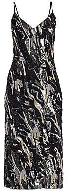 Burnett New York Women's Metallic Wave Embroidered Slip Dress