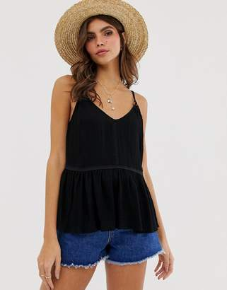 Asos Design DESIGN crinkle cami with lace inserts and ring detail sun top