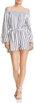 En Créme Striped Off-the-Shoulder Romper $48 thestylecure.com