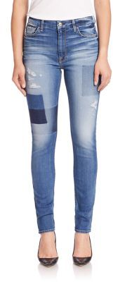 7 For All Mankind Ankle Skinny Distresed Jeans With Shadow Patches $249 thestylecure.com