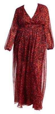 Fausto Puglisi Marina Rinaldi, Plus Size X Marina Rinaldi Animalistic Print Silk Chiffon Dress