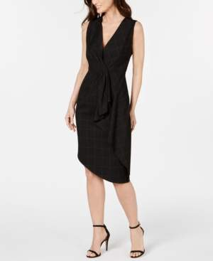 Elie Tahari Printed Draped Front Sheath Dress