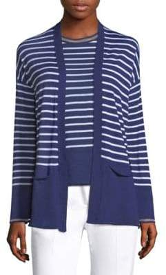 Piazza Sempione Striped Open Front Cardigan