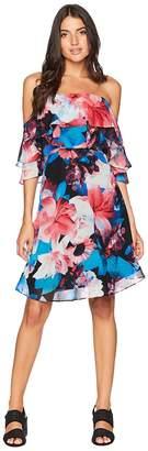 Calvin Klein Tiered Off the Shoulder Flower Print Dress CD8B32NG Women's Dress
