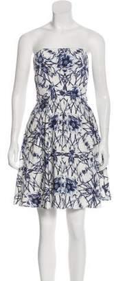 Marchesa Strapless Print Dress