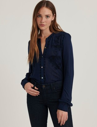 Lucky Brand Embroidered Button Front Top