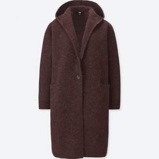 Uniqlo WOMEN Melange Wool Hooded Knitted Coat