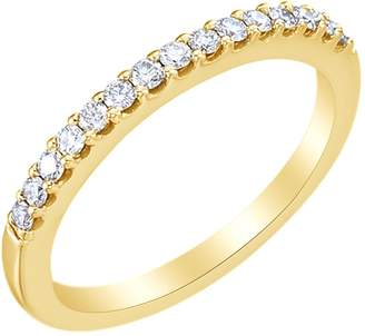 AFFY White Natural Diamond Ring Half Eternity 5.2 mm Engagement Band Ring in 14k Gold (0.25 Cttw) Ring Size : 8.5