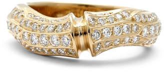 Cartier Estate 18K Yellow Gold Bamboo Diamond Ring Size 5.75