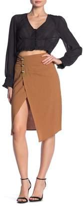 Dress Forum Pinstripe Print Ruched Midi Skirt