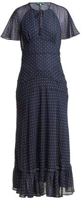 ALEXACHUNG Polka Dot Print Crepe Dress - Womens - Navy White