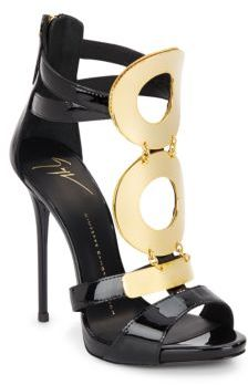 Patent Leather Goldtone Ring Sandals $1,695 thestylecure.com