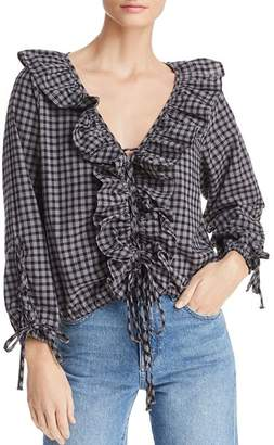 BB Dakota Lace It To Me Ruffled Plaid Top