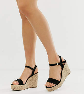 Glamorous Wide Fit black espadrille wedges