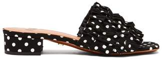 ALEXACHUNG Polka Dot Ruffle Slides - Womens - Black White