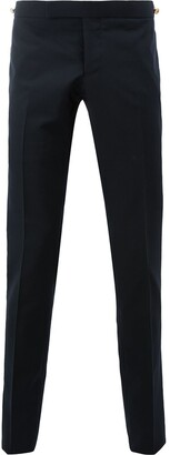 Thom Browne Low Rise Skinny Trouser With Red, White And Blue Selvedge Back Leg Placement In School Uniform Plain Weave