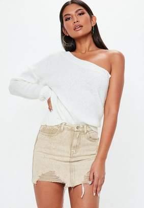 Missguided Petite Sand Distressed Denim Mini Skirt