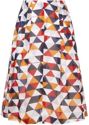 Akris Diamond Print Pleated Skirt