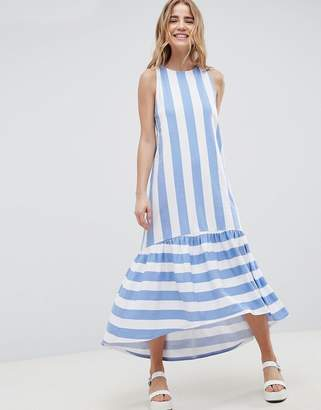 Asos DESIGN Maxi Dress With Racer Back And Hi Lo Pep Hem In Deckchair Stripe