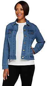 Isaac Mizrahi Live! TRUE DENIM Railroad StripeJean Jacket