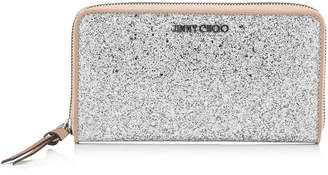 Jimmy Choo PIPPA Silver Coated Glitter Fabric and Ballet Pink Nappa Mix Zip Around Wallet