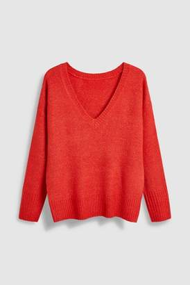 Next Womens Red V-Neck Sweater