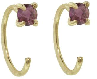Melissa Joy Manning Rhodolite Garnet Hug Hoop Earrings - Yellow Gold